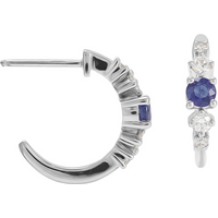 shop for Mappin & Webb Carrington 18 White Gold Sapphire & Diamond Hoop Earrings at Shopo