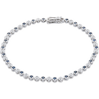 9ct White Gold Sapphire and Diamond Tennis Bracelet