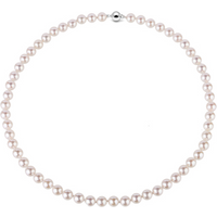 9CT White Gold 7-7.5MM Akoya Pearl Strand Necklace.
