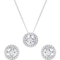 shop for Silver Cubic Zirconia Halo Earrings & Pendant Set at Shopo