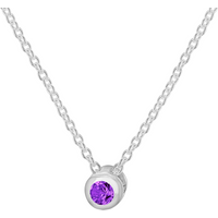 shop for Silver February Purple Cubic Zirconia Pendant at Shopo