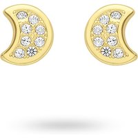 shop for 9ct Yellow Gold Moon Cubic Zirconia Stud Earrings at Shopo