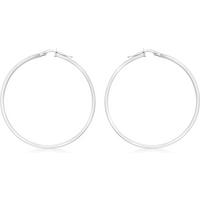 9ct White Gold 35mm Creole Hoop Earrings