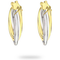 9ct Bicolour Gold Tube Crossover Earrings
