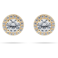 shop for 9ct Yellow Gold Cubic Zirconia Halo Stud Earrings. Earring Size 7.7mm at Shopo