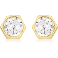 9ct Yellow Gold Hexigan Stud Earrings