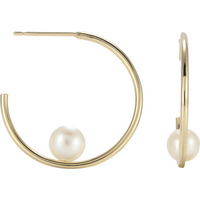 shop for 9ct Yellow Gold Floating Pearl Hoop Earrings at Shopo