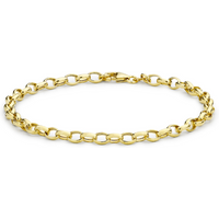 9ct Yellow Gold Hollow Oval Belcher Bracelet