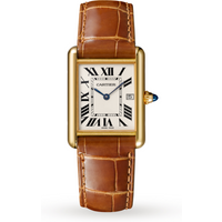 Tank Louis Cartier watch, Large model, yellow gold, leather, sapphire