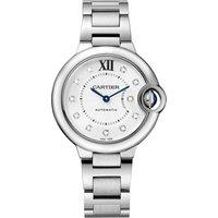 Ballon Bleu de Cartier watch, 33 mm, steel, diamonds