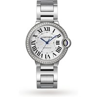 Ballon Bleu de Cartier watch, 36 mm, steel, diamonds