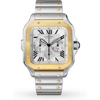 Santos de Cartier watch, Large Model, Automatic, Stainless Steel and 18ct Gold