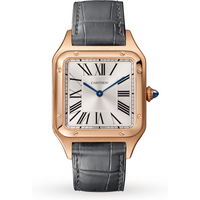 Santos-Dumont watch, Large model, pink gold, leather