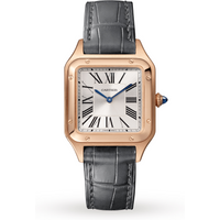Santos-Dumont watch, Small model, pink gold, leather