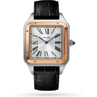 Santos-Dumont watch XL model, rose gold and steel, leather bracelet