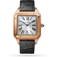 Santos-Dumont watch XL model, rose gold, leather strap