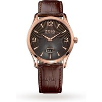 Mens Hugo Boss Commander Brown Leather Strap Watch