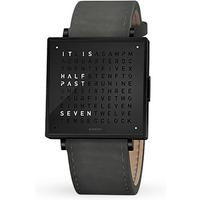 QLOCKTWO 35mm Black Steel Suede Anthracite Wristwatch