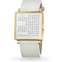 QLOCKTWO 35mm Gold Fine Grain White Wristwatch