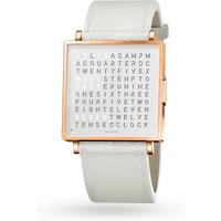 QLOCKTWO 35mm Rose Fine Grain White Wristwatch