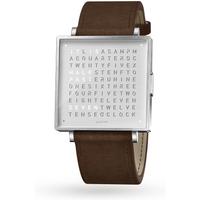 QLOCKTWO 39mm Fine Steel Vintage Brown Wristwatch