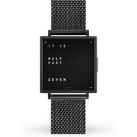 QLOCKTWO 39mm Black Steel Wristwatch