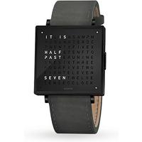 QLOCKTWO 39mm Black Steel Suede Anthracite Wristwatch