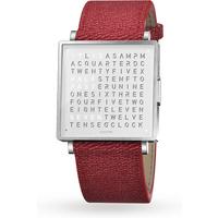 QLOCKTWO 39mm Pure White Fine Grain Red Wristwatch