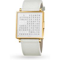 QLOCKTWO 39mm Gold Fine Grain White Wristwatch