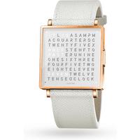 QLOCKTWO 39mm Rose Fine Grain White Wristwatch