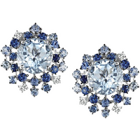 shop for Damiani 18ct White Gold Diamond Aquamarine and Sapphire Anima Stud Earrings at Shopo