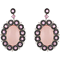 shop for Damiani 18ct White Gold Diamond Pink Sapphire and Quartz Earrings at Shopo