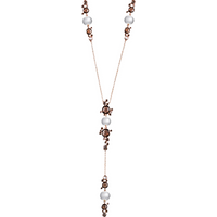 shop for Damiani 18ct Gold Brown Diamond Smokey Quartz and Pearl Necklace at Shopo