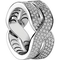Damiani Baci 18ct White Gold 0.64cttw Diamond Ring - Rings Size M.
