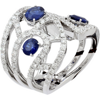 shop for Damiani Battito 18ct White Gold 1.51cttw Diamond and Sapphire Ring - Ring Size M at Shopo