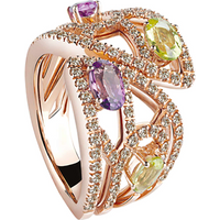 shop for Damiani Battito 18ct Rose Gold 0.71cttw Diamond Amethyst ... at Shopo
