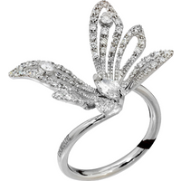 shop for Damiani Butterfly Baby 18ct White Gold 0.78cttw Diamond Ring - Ring Size M at Shopo