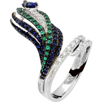 Damiani 18ct White Gold 0.19cttw Diamond Sapphire and Eme ...