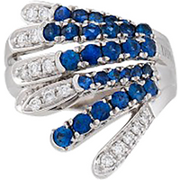 shop for Damiani 18ct White Gold 0.35cttw Diamond and Sapphire Ring - Ring Size O at Shopo