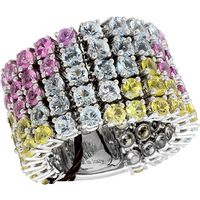 shop for Damiani 18ct White Gold 5.64cttw Sapphire and Aquamarine Ring - Ring Size O at Shopo