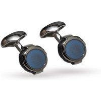 Babette Wasserman Boatyard Blue Round Cufflinks