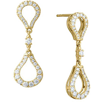shop for Di Modolo Fiama 18ct Yellow Gold 1.15cttw Diamond Pave Drop Earrings at Shopo