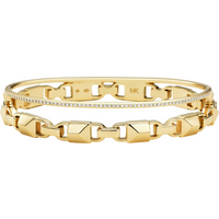 shop for Michael Kors Mercer Link 14ct Yellow Gold Plated Hinged Bangle Size Medium at Shopo
