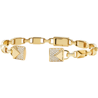 shop for Michael Kors Mercer Link 14ct Gold Plated Open Cuff Size Medium at Shopo