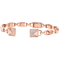 shop for Michael Kors Mercer Link 14ct Rose Gold Plated Open Cuff Size Medium at Shopo