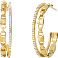 shop for Michael Kors Mercer Link 14ct Gold Plated Hoops at Shopo