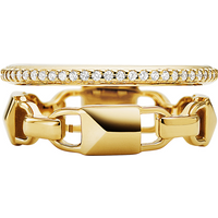 shop for Michael Kors Mercer Link 14ct Gold Plated Prestack Ring Size L.5 at Shopo