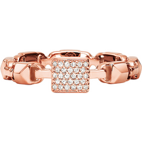 shop for Michael Kors Mercer Link 14ct Rose Gold Plated Stacking Ring Size O at Shopo