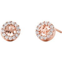 shop for Michael Kors Logo 14ct Rose Gold Plated Stud Earrings at Shopo