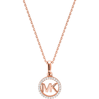 shop for Michael Kors Custom Kors 14ct Rose Gold Plated Charm Necklace at Shopo